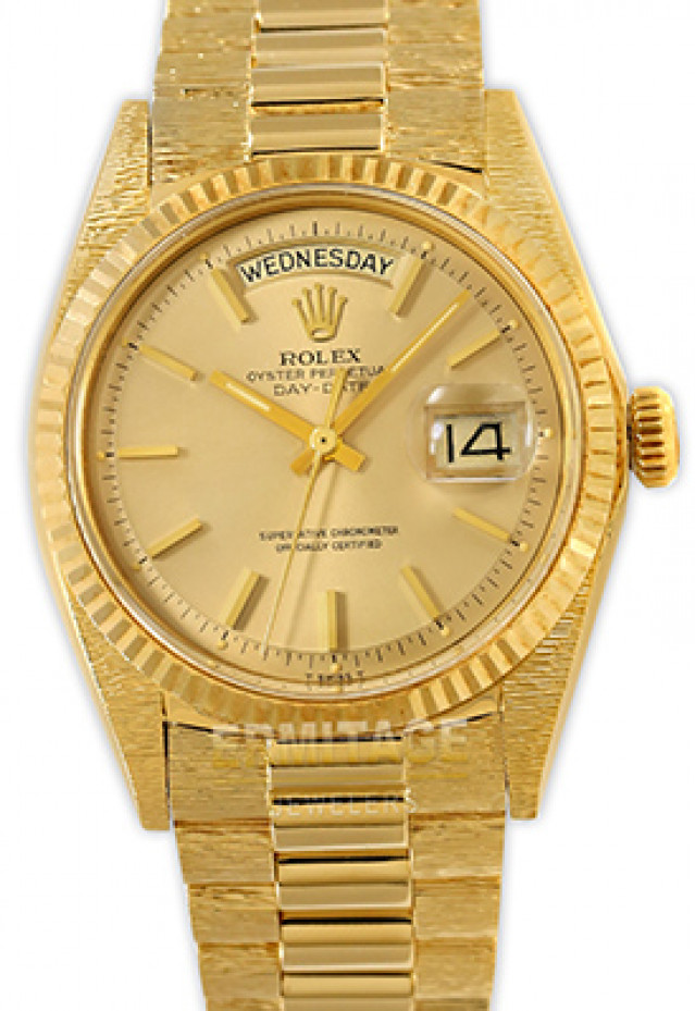 Rolex 1803 Yellow Gold on President With Bark Finish, Fluted Bezel Champagne with Gold Index