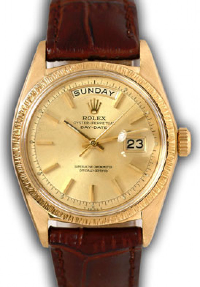 Rolex 1807 Yellow Gold on Strap, Bark Finish Bezel Champagne with Gold Index