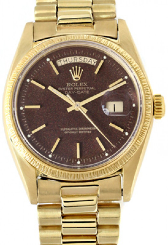 Rolex 1807 Yellow Gold on President, Bark Finish Bezel Black Tobacco with Gold Index