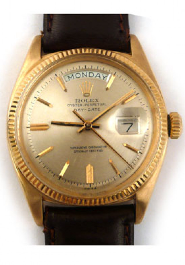Rolex 6611 Yellow Gold on Strap, Fluted Bezel Champagne with Gold Index