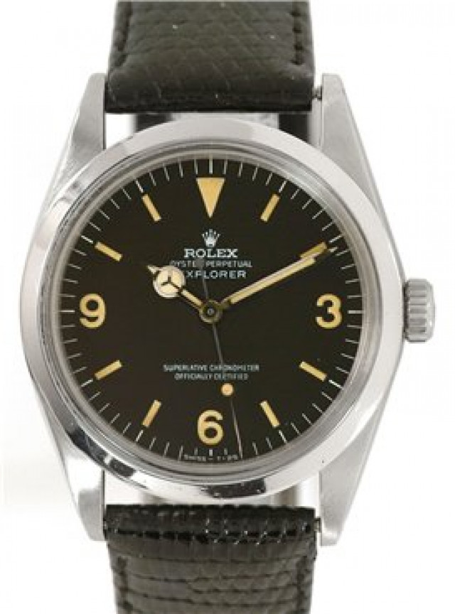 Rolex 1016 Steel on Strap, Smooth Bezel Black with Luminous Index & Silver Arabic 3-6-9