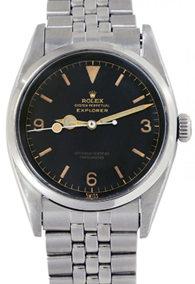 Rolex 6610 Steel on Jubilee, Smooth Bezel Black Gilt with Gold Index & Arabic 3-6-9