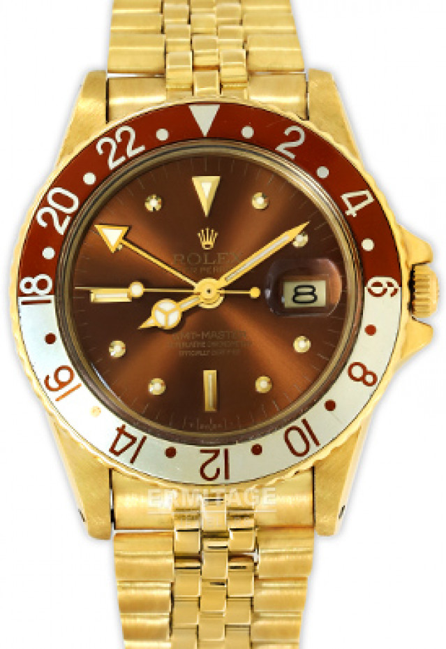 Rolex 1675 Yellow Gold on Jubilee, Brown & Gold Ceramic, Root Beer Brown Nipple