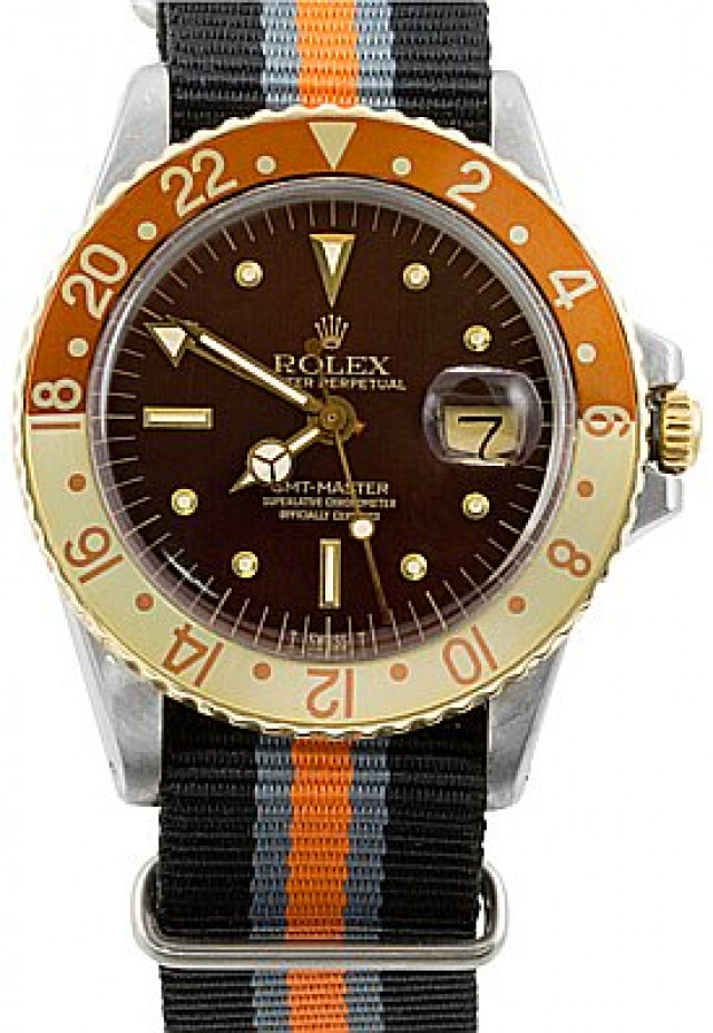 Rolex 1675 Steel on Strap, Root Beer Brown Nipple with Luminous Dots & Index