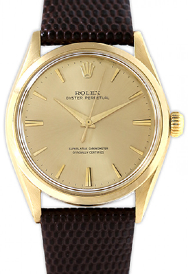 Rolex 1002 Yellow Gold on Strap, Fluted Bezel Champagne with Gold Index