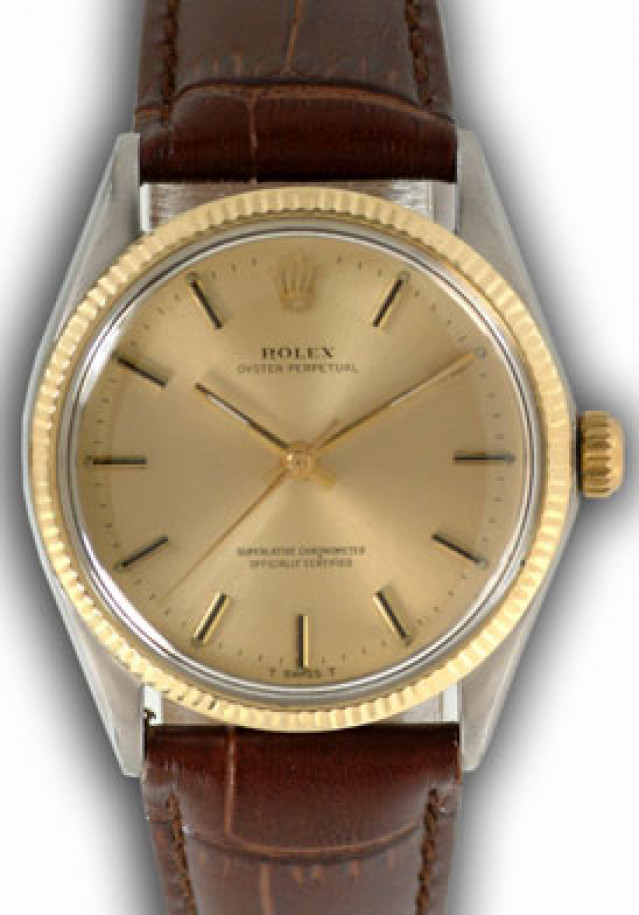 Rolex 1005 Yellow Gold & Steel on Strap, Fluted Bezel Champagne with Gold Index