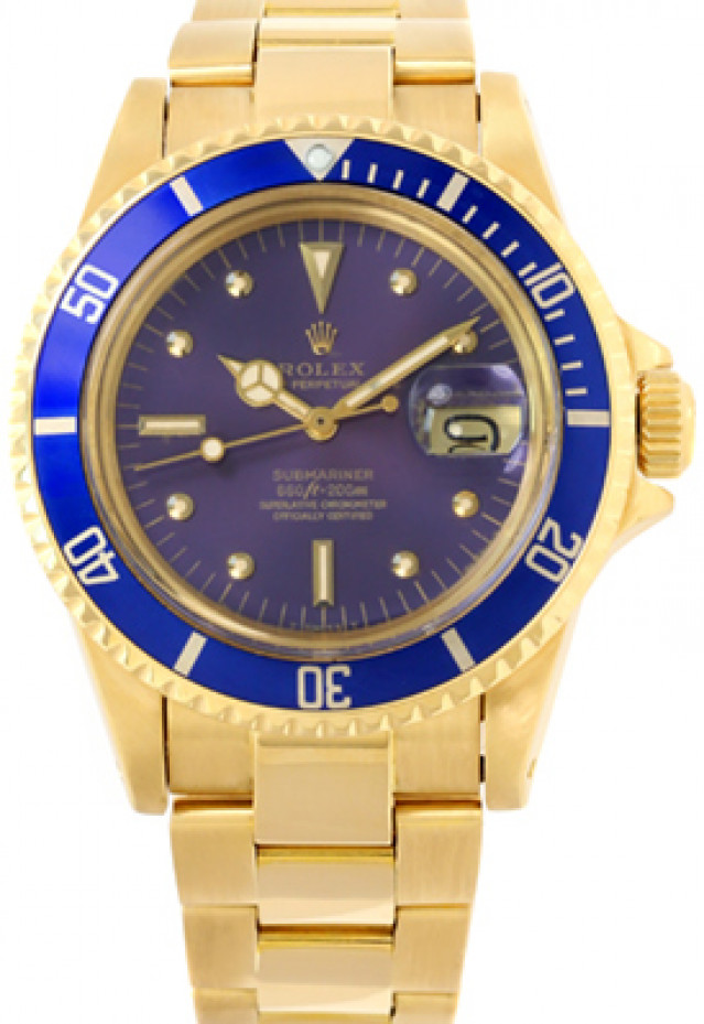 Rolex 1680 Yellow Gold on Oyster, Blue Bezel Blue Nipple with Luminous Dots & Index