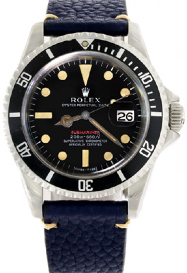 Rolex 1680 Steel on Strap, Black Bezel Black Mark II with Luminous Dots & Index