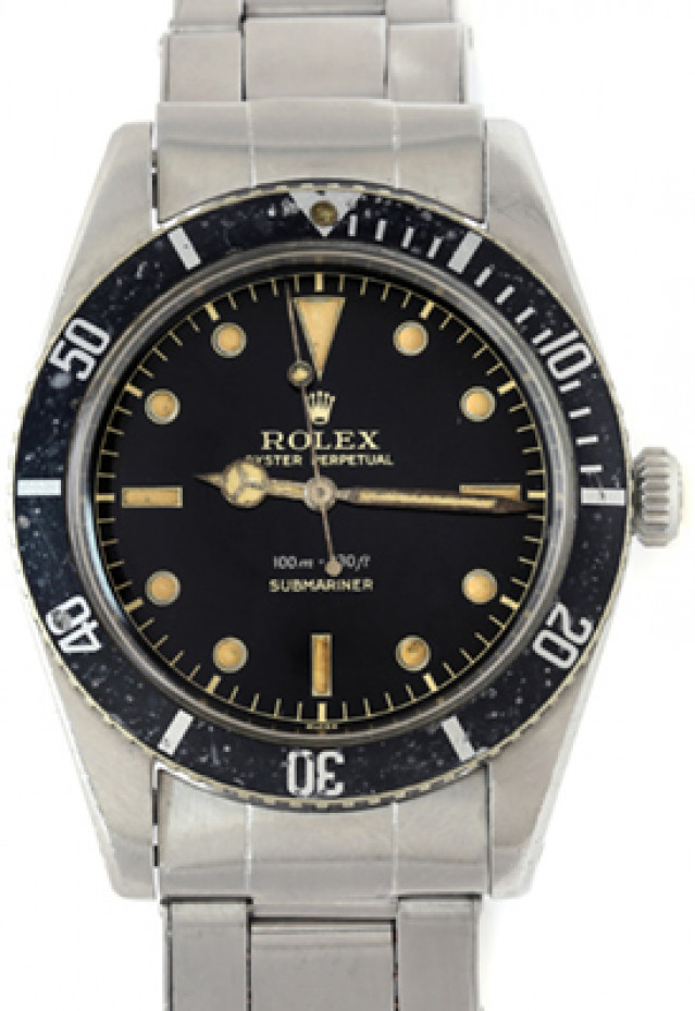 Rolex 5508 Steel on Oyster Stretch, Black Bezel Black Gilt with Luminous Dots & Index