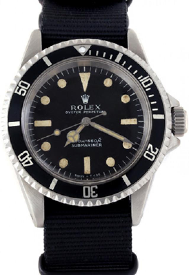 Rolex 5513 Steel on Strap, Black Bezel Black