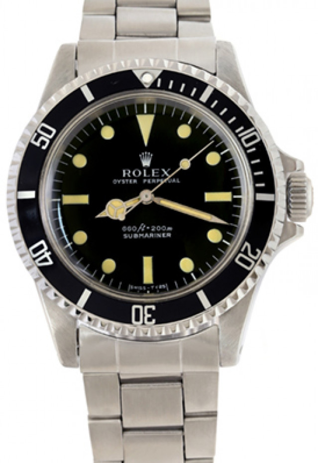 Rolex 5513 Steel on Oyster Black Serif with Luminous Dots & Index