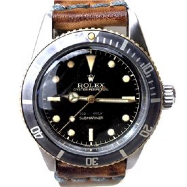 Rolex 6538 Steel on Strap, Black Bezel Black