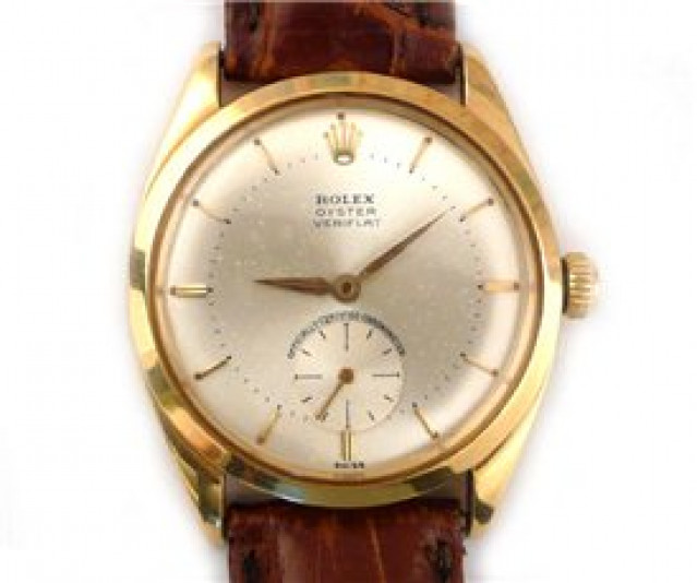 Rolex 6512 Yellow Gold on Strap, Smooth Bezel Steel with Gold Index