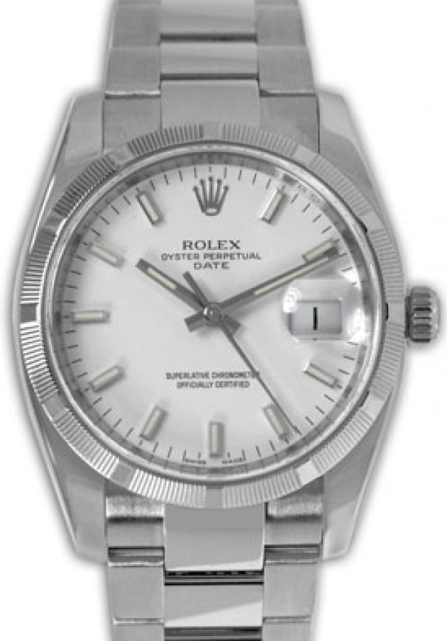 Rolex 115210 Steel on Oyster, Engine Turned Bezel White with Luminous Index