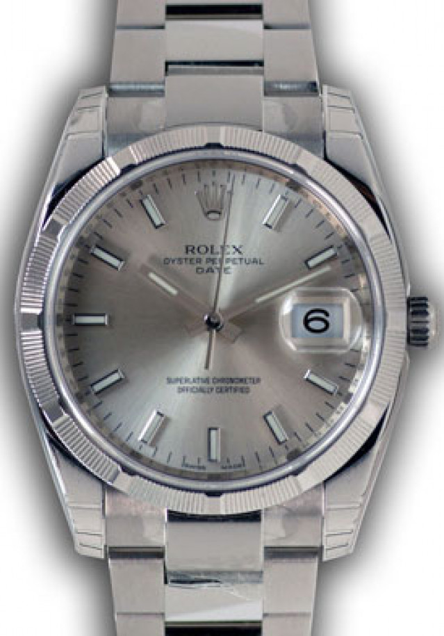 Rolex 115210 Steel on Oyster, Engine Turned Bezel Steel with Luminous Index