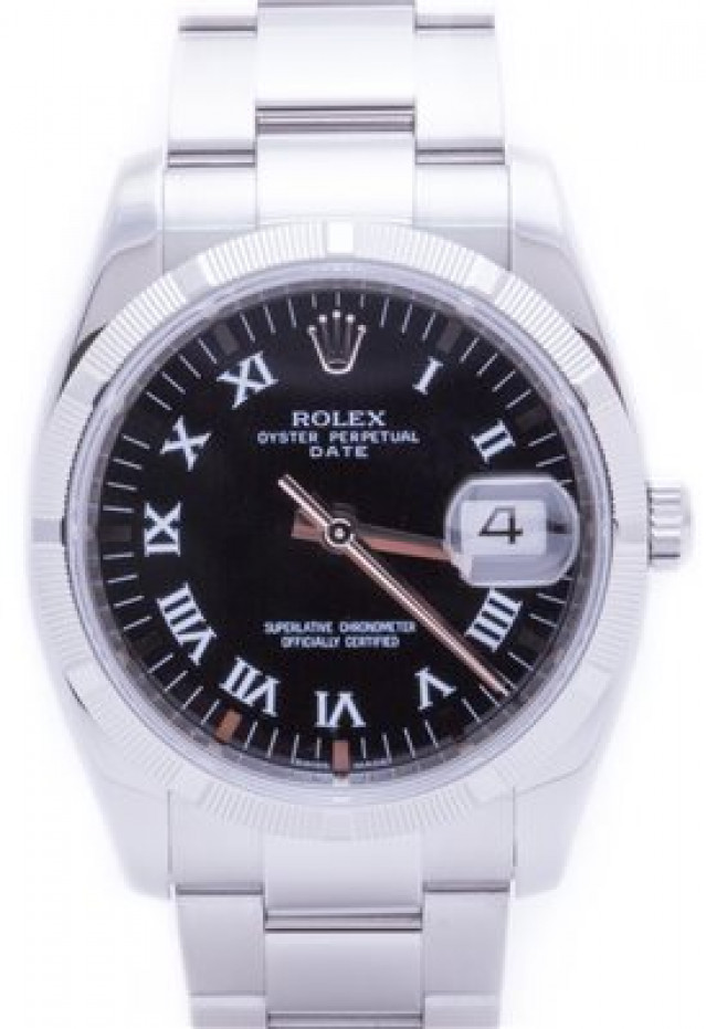 Rolex 115210 Steel on Oyster, Engine Turned Bezel Black with Luminous Index