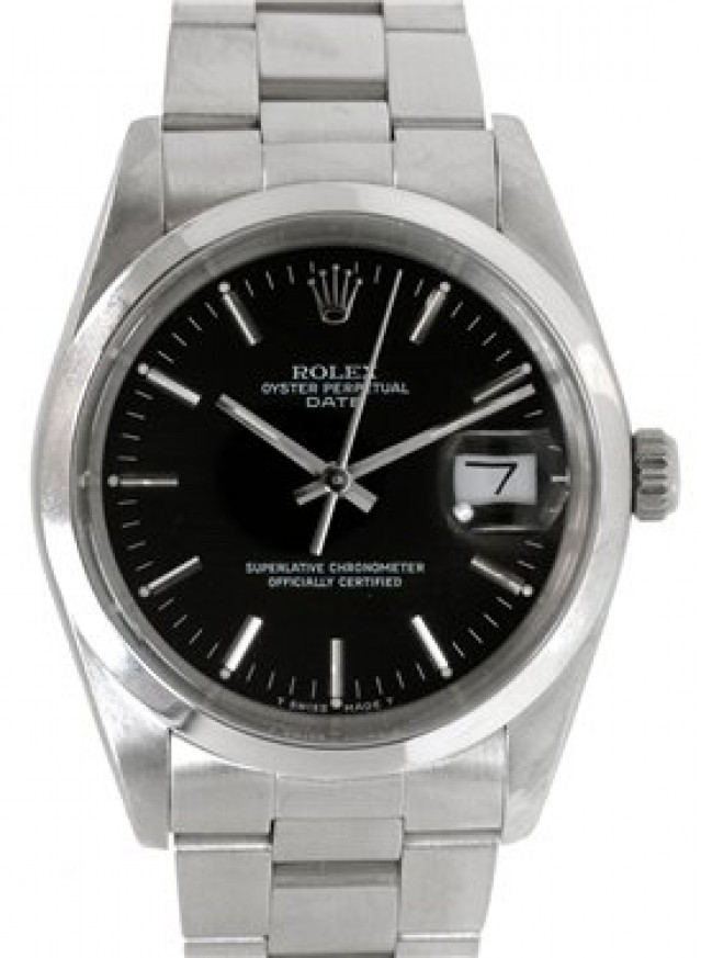 Rolex 15000 Steel on Oyster, Smooth Bezel Black with Silver Index