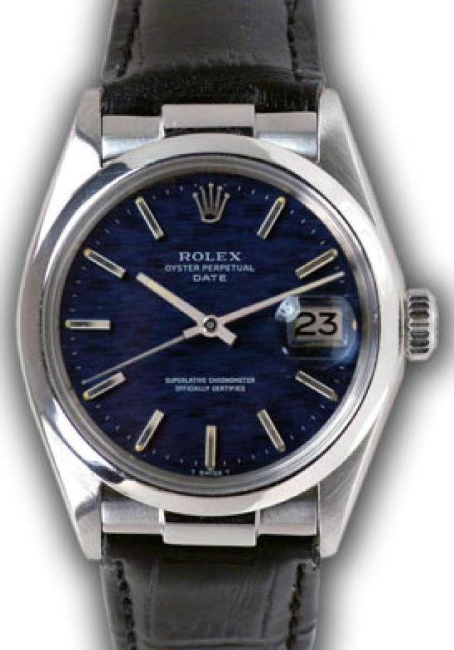 Rolex 15000 Steel on Strap, Smooth Bezel Blue with Silver Index
