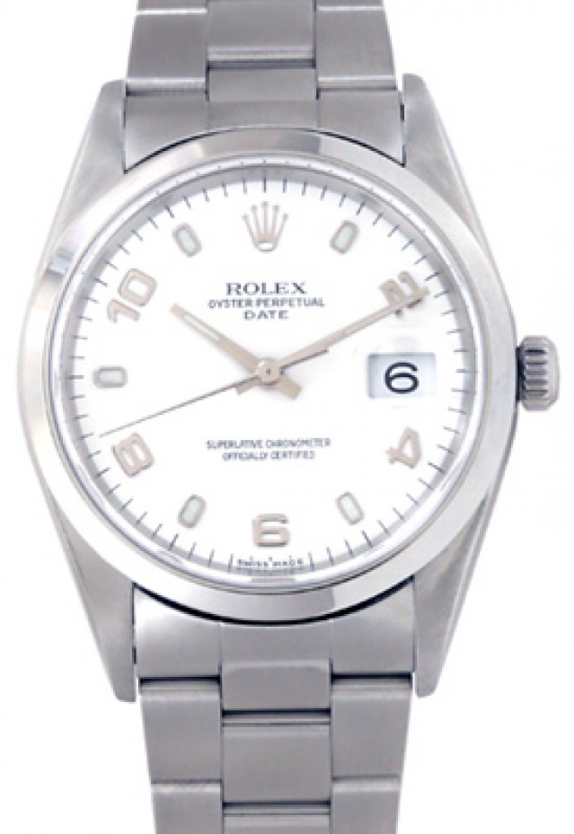 Rolex 15000 Steel on Oyster, Smooth Bezel White with Silver Index