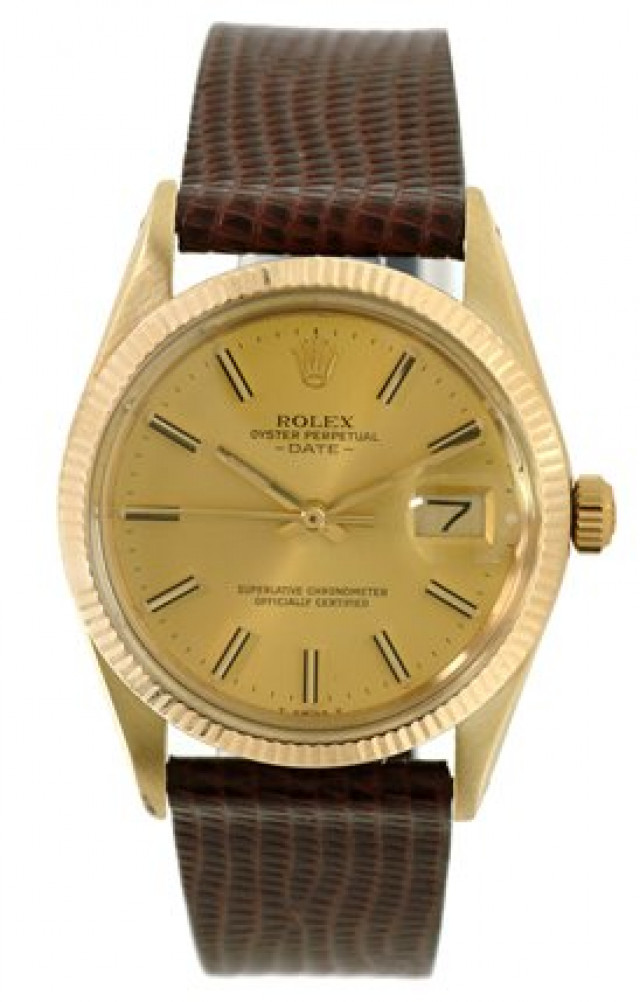 Rolex 15037 Yellow Gold on Strap, Fluted Bezel Champagne with Gold Index