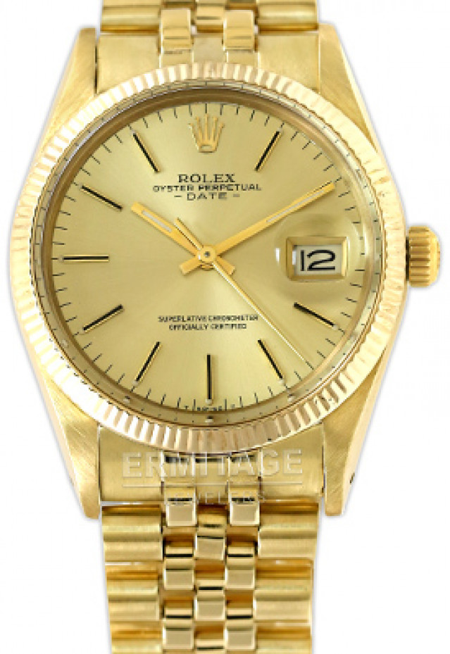 Rolex 15037 Yellow Gold on Jubilee, Fluted Bezel Champagne with Gold Index