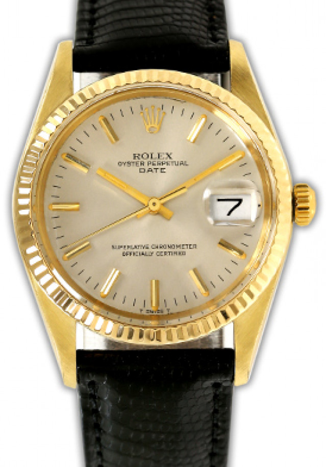 Rolex 15037 Yellow Gold on Strap, Fluted Bezel Steel with Gold Index