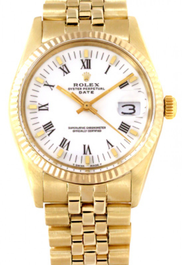 Rolex 15037 Yellow Gold on Jubilee, Fluted Bezel White with Gold Index