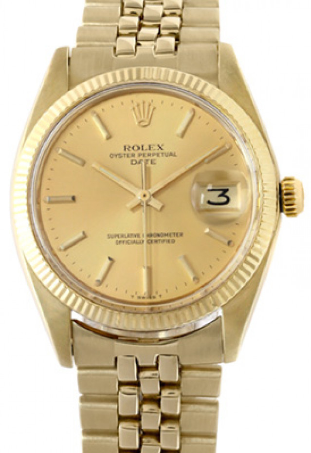 Rolex 15037 Yellow Gold on President, Fluted Bezel Champagne with Gold Index