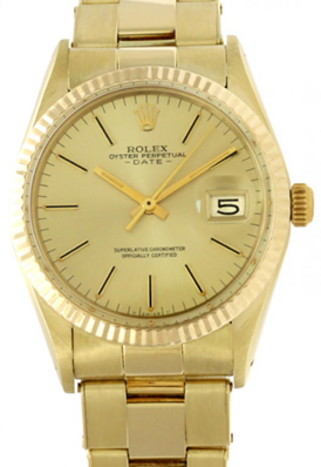 Rolex 15037 Yellow Gold on Oyster, Fluted Bezel Champagne with Gold Index
