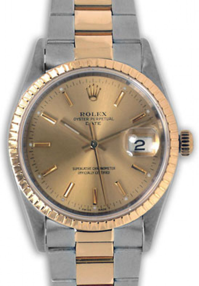 Rolex 15053 Yellow Gold & Steel on Oyster, Finely Engine Turned Bezel Champagne with Gold Index