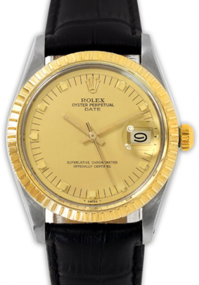 Rolex 15053 Yellow Gold & Steel on Strap, Finely Engine Turned Bezel Champagne with Gold Short Index