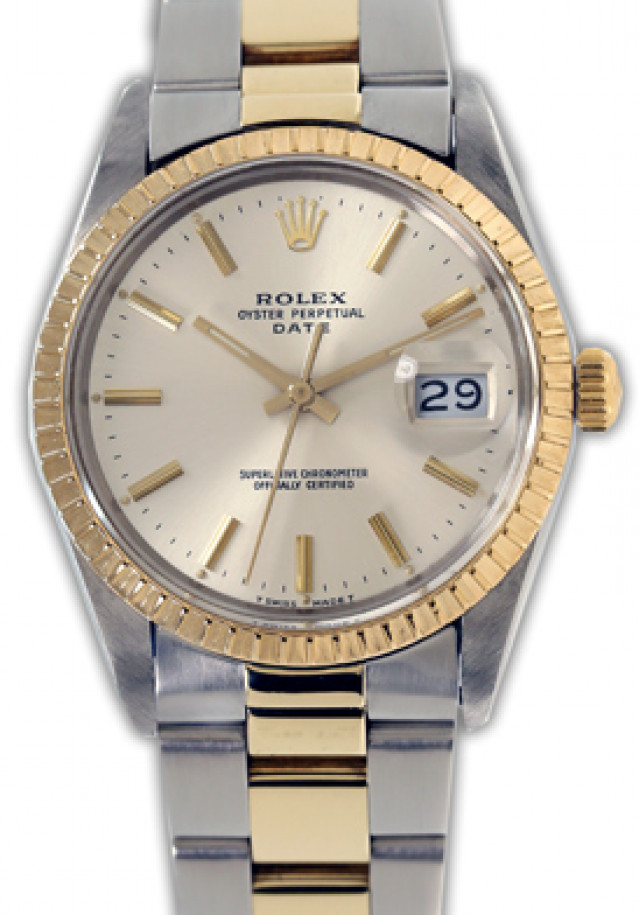 Rolex 15053 Yellow Gold & Steel on Oyster, Finely Engine Turned Bezel Steel with Gold Index