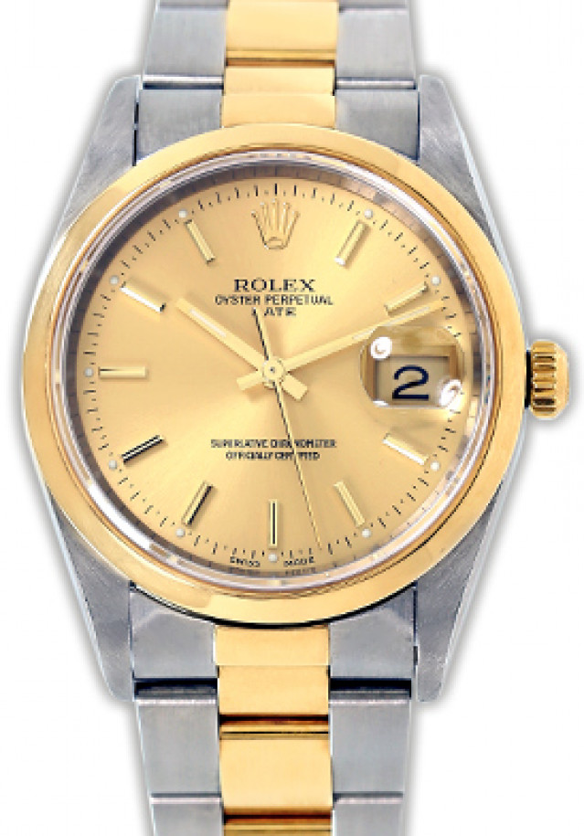 Rolex 15203 Yellow Gold & Steel on Oyster, Smooth Bezel Champagne with Gold Index
