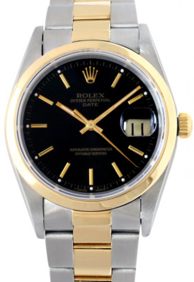 Rolex 15203 Yellow Gold & Steel on Oyster, Smooth Bezel Black with Gold Index
