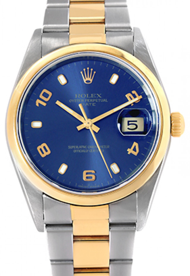 Rolex 15203 Yellow Gold & Steel on Oyster, Smooth Bezel Blue with Luminous Index & Gold Arabic 2-4-6-8-10