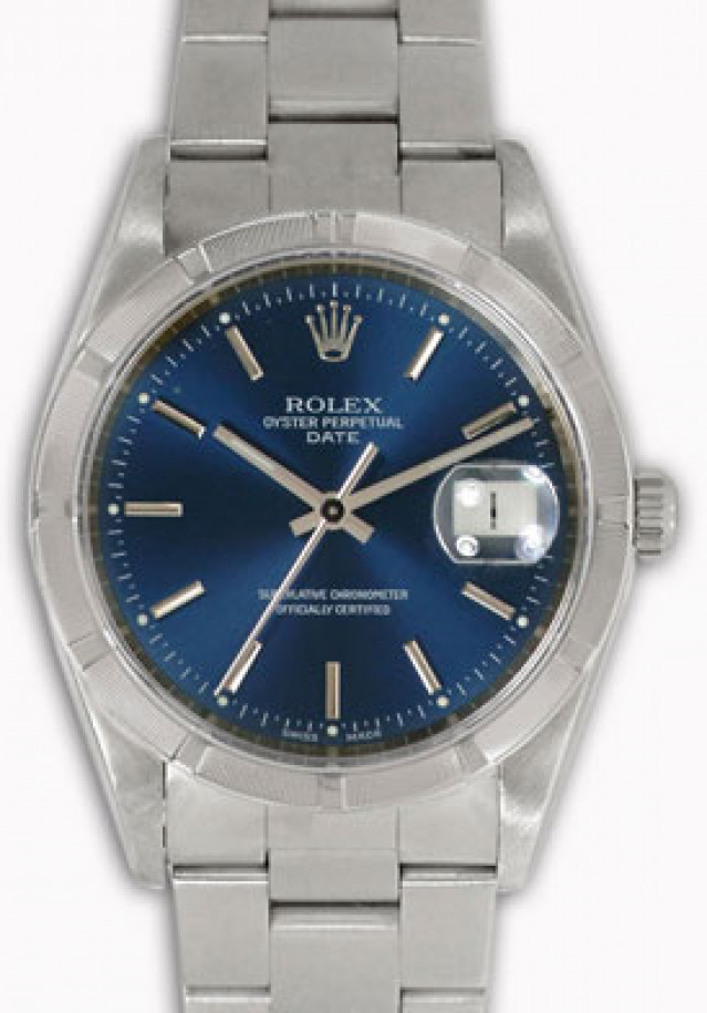 Rolex 15210 Steel on Oyster, Engine Turned Bezel Blue with Silver Index