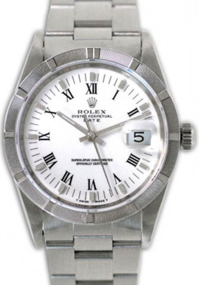 Rolex 15210 Steel on Oyster, Engine Turned Bezel White with Black Roman & Silver Index