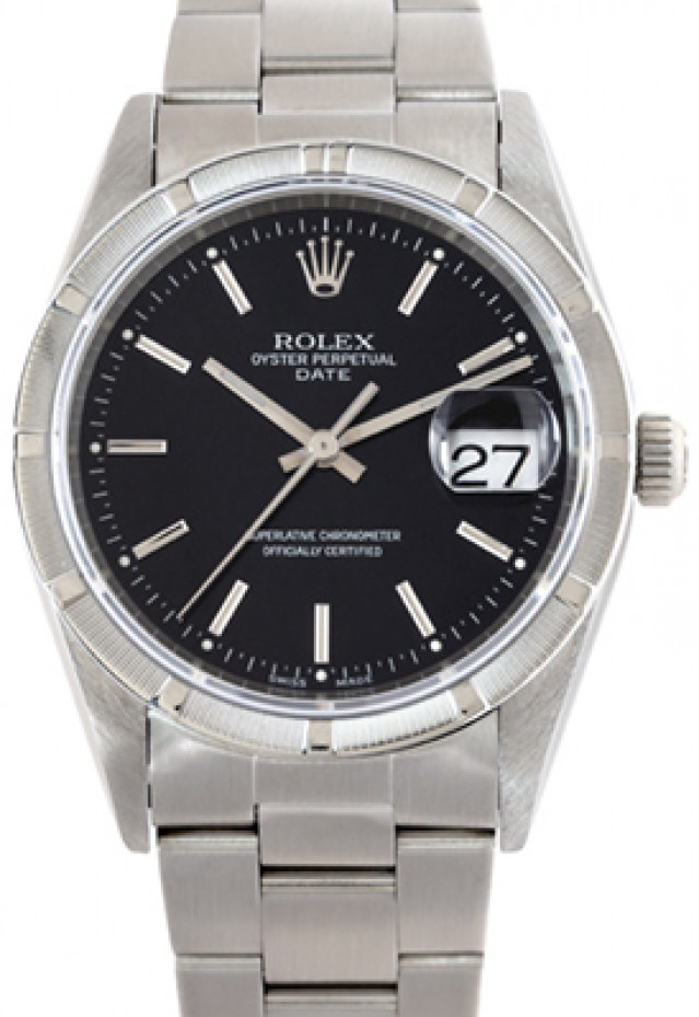 Rolex 15210 Steel on Oyster, Engine Turned Bezel Black with Silver Index