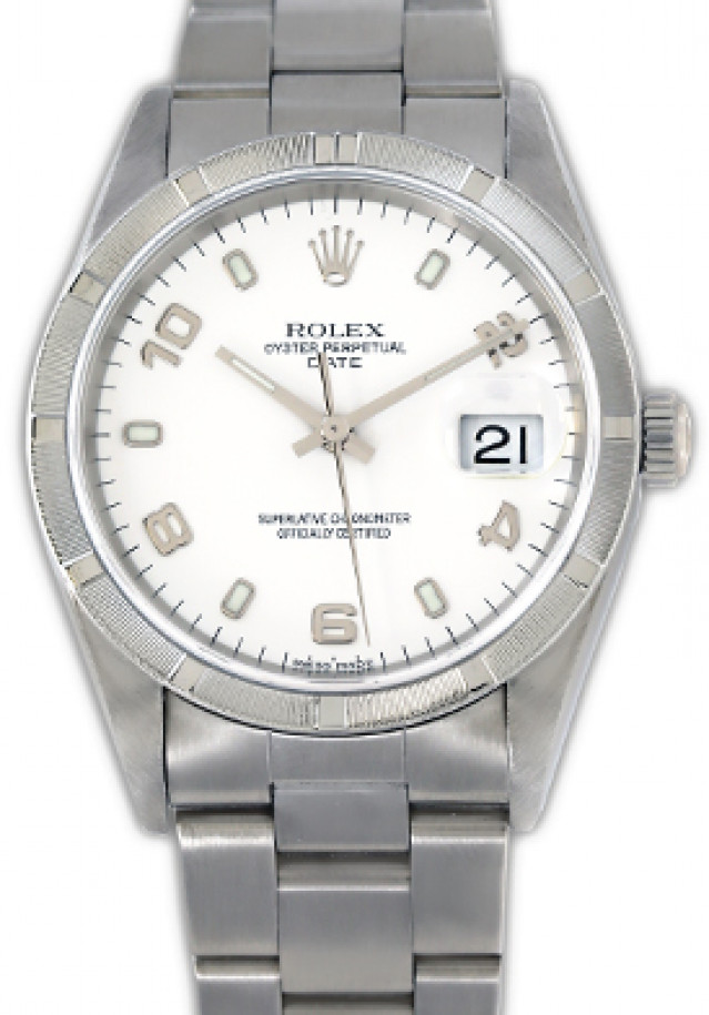 Rolex 15210 Steel on Oyster, Engine Turned Bezel White with Luminous Index & Silver Arabic 2-4-6-8-10