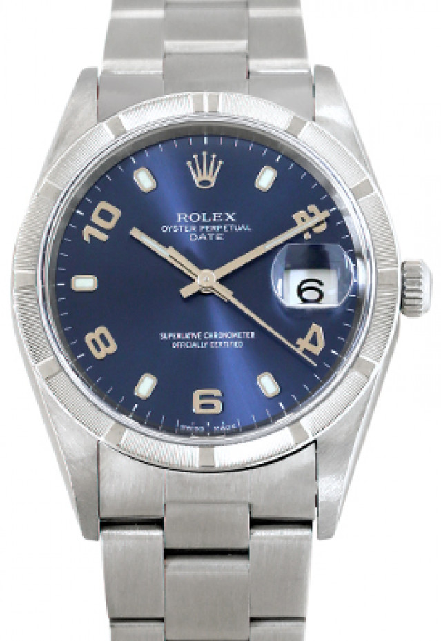 Rolex 15210 Steel on Oyster, Engine Turned Bezel Blue with Luminous Index & Gold Arabic 2-4-6-8-10