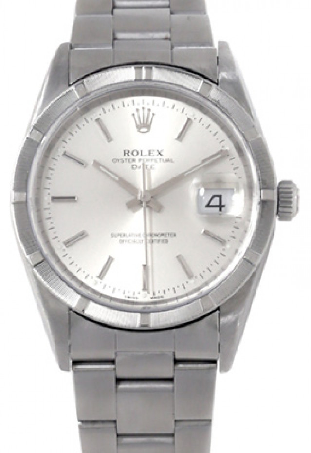 Rolex 15210 Steel on Oyster, Engine Turned Bezel Steel with Silver Index