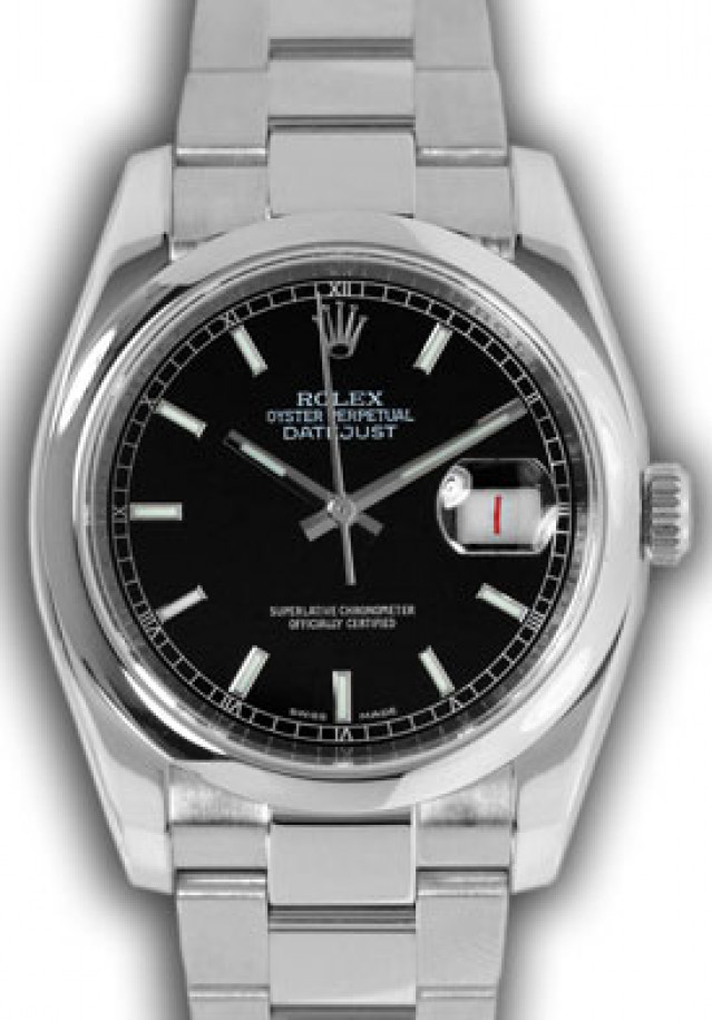 Rolex 116200 Steel on Oyster, Smooth Bezel Black with Luminous Index & White Roman