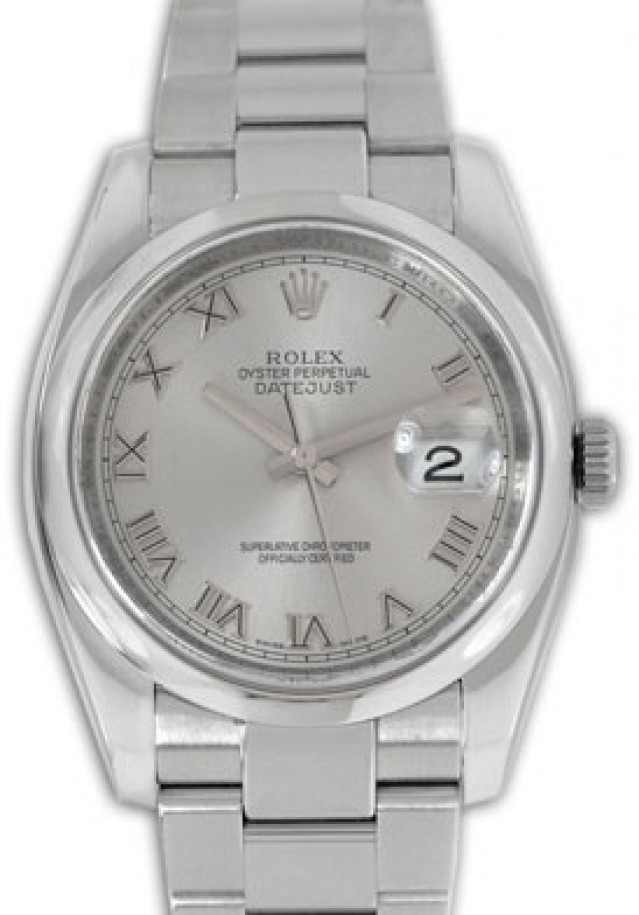 Rolex 116200 Steel on Oyster, Smooth Bezel Rhodium with Silver Roman