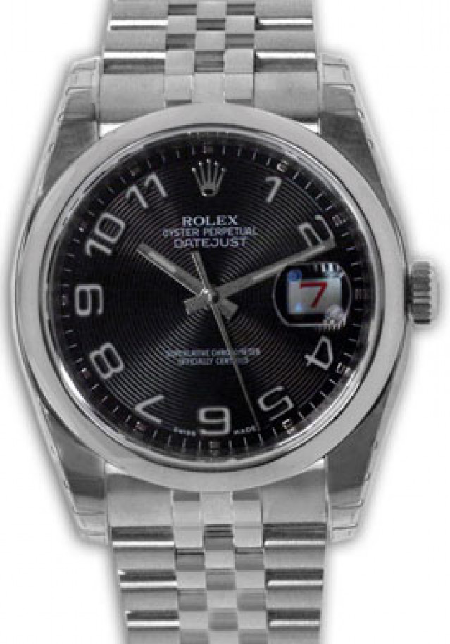 Rolex 116200 Steel on Jubilee, Smooth Bezel Black Concentric with Silver Arabic