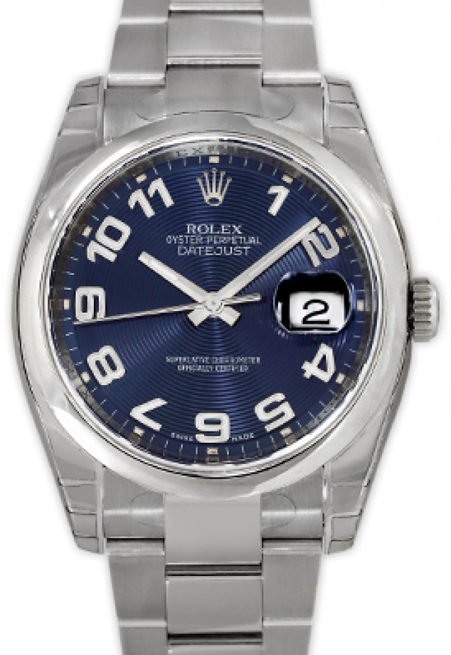 Rolex 116200 Steel on Oyster, Smooth Bezel Blue Concentric with Silver Roman