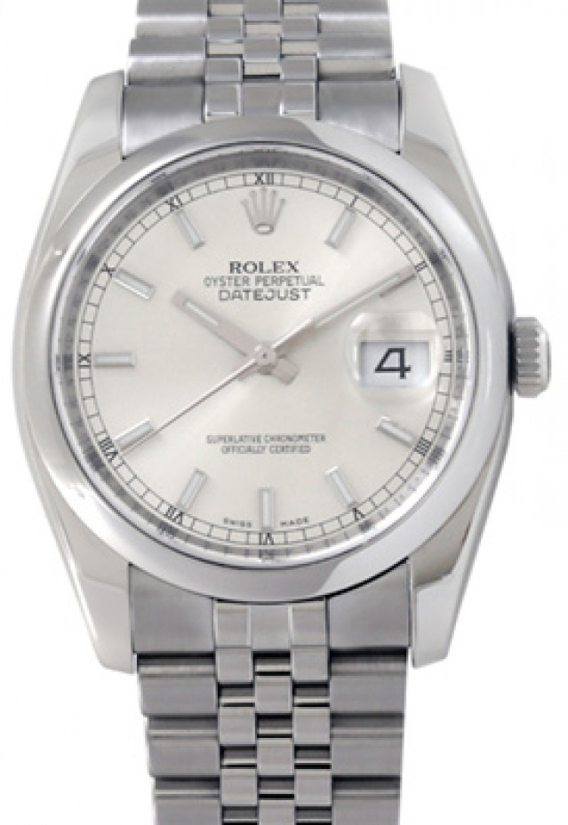 Rolex 116200 Steel on Jubilee, Smooth Bezel Steel with Luminous Silver Index