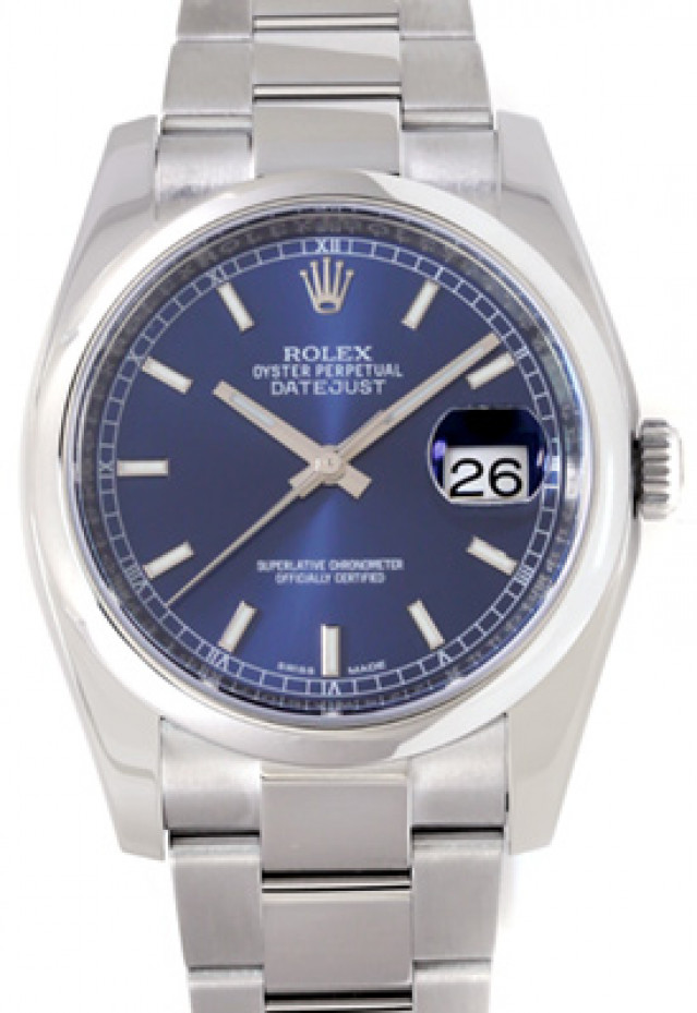 Rolex 116200 Steel on Oyster, Smooth Bezel Blue with Luminous Silver Index