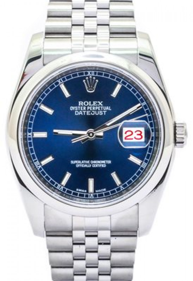 Rolex 116200 Steel on Jubilee, Smooth Bezel Blue with Luminous Silver Index