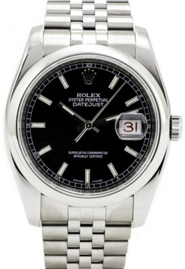 Rolex 116200 Steel on Jubilee, Smooth Bezel Black with Luminous Silver Index