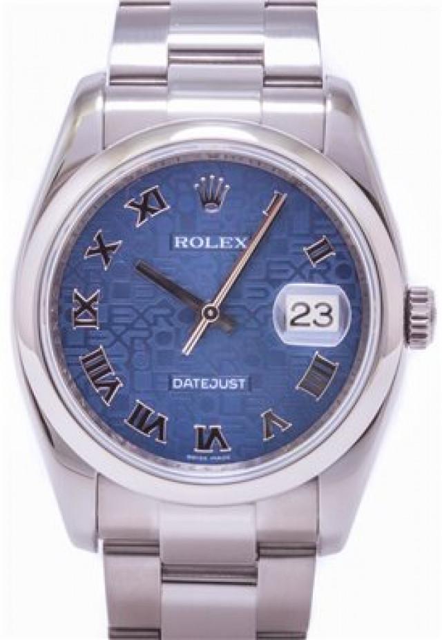 Rolex 116200 Steel on Oyster, Smooth Bezel Blue Jubilee with Silver Roman